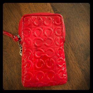 Coach Red Patten Leather Phone/wallet wristlet